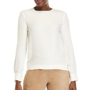SALE MaxMara Piera Silk & Jersey Blouse in White
